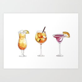 watercolor hand-painted cocktails illustration Art Print