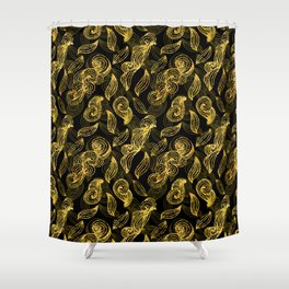 Golden Decorated Christmas Pattern 2 Shower Curtain