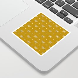 Bee Stamped Motif on Mustard Gold Sticker