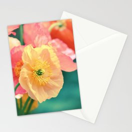 Vintage Pastel Poppies in Golden & Peach tones Stationery Cards