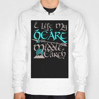 middle earth Hoodies featuring I Left My Heart in Middle Earth (white version) by Nikki Fernandez
