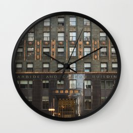 Chicago with a touch of Gold Wall Clock