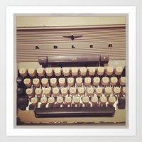 typewriter Art Prints featuring typewriter by Bunny Noir