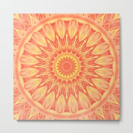 Mandala Flower orange no. 1 Metal Print