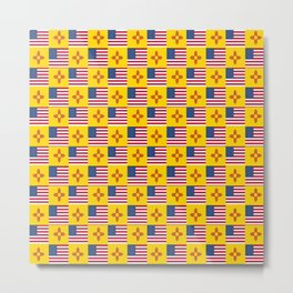 Mix of flag : USA and new mexico Metal Print