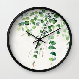 Eucalyptus Watercolor Wall Clock