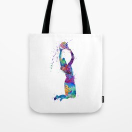 Volleyball Girl Setter Colorful Watercolor Art Tote Bag