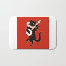 Black Cat for Halloween with Red Bath Mat