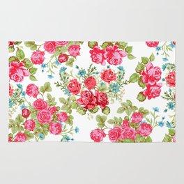 Botanical magenta teal green vintage vector roses floral Rug
