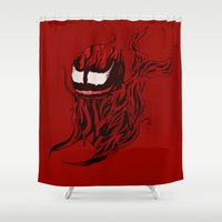 carnage Shower Curtains featuring Carnage Whale  by CoolBreezDesigns