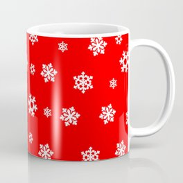 Snowflakes (White on Red) Coffee Mug