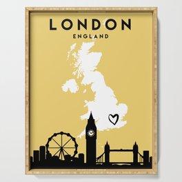 LONDON ENGLAND LOVE CITY SILHOUETTE SKYLINE ART Serving Tray