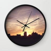 nashville Wall Clocks featuring Nashville Skyline by  Dreambox Designs