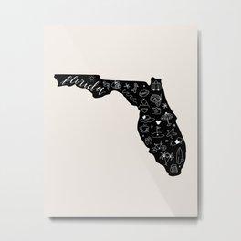 Florida the Sunshine State | Calligraphy Print Metal Print