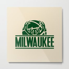 Milwaukee basketball custom cream logo Metal Print