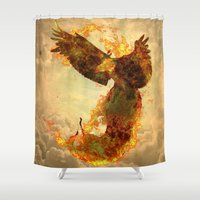 phoenix Shower Curtains featuring Phoenix by Barruf