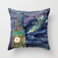peter pan Throw Pillows featuring Peter Pan by Kris-Tea Books