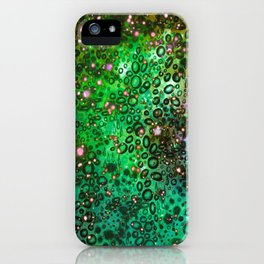 RAINBOW DOTTY OCEAN 3 Green Lime Ombre Space Galaxy Colorful Polka Dot Bubbles Abstract Painting Art iPhone Case