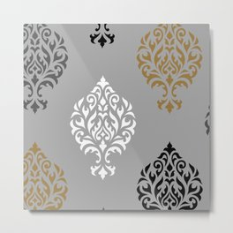 Orna Damask Art I BW Grays Gold Metal Print