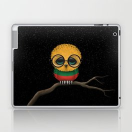 Baby Owl with Glasses and Lithuanian Flag Laptop & iPad Skin