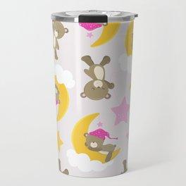 Pattern Of Cute Bears, Brown Bears, Pink Stars Travel Mug