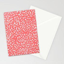 Claudia - abstract minimal coral dot polka dots painterly brushstrokes Stationery Cards