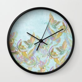 Butterflies on Turquoise Watercolor:  Rainbow butterflies, Chinese design Wall Clock