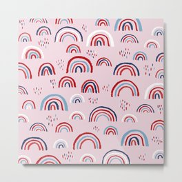 Magic rainbow sky kids 4th of July celebration pattern design pink Metal Print