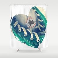 converse Shower Curtains featuring Converse Love in White by Madison Daniels