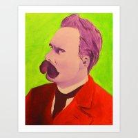 nietzsche Art Prints featuring Colorful Nietzsche by TheMessianicManic