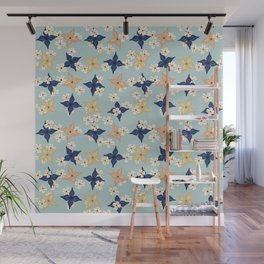 Dainty floral pattern on duck egg blue Wall Mural