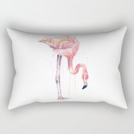 Flamingo Painting Watercolor Rectangular Pillow