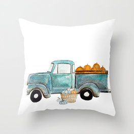 Fall vintage truck Throw Pillow