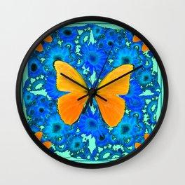 Aqua Colored Blue Floral Golden Butterflies Pattern Art Wall Clock