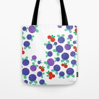 finland Tote Bags featuring Berry Picking in Finland by Studio Spotnik