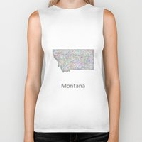 montana Biker Tanks featuring Montana map by David Zydd