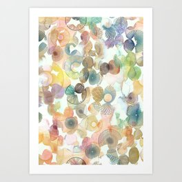Watercolour spirographs Art Print