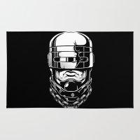 robocop Area & Throw Rugs featuring Hey, Robocop! by OneAppleInBox