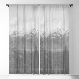 Snow Capped Sierras - Black and White Nature Photography Sheer Curtain