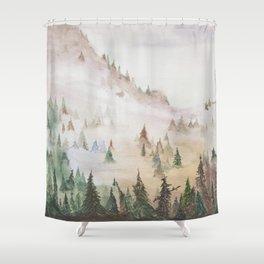Forêt dans la brume Shower Curtain