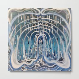 Blue and White Waterfall Space Abstract Metal Print