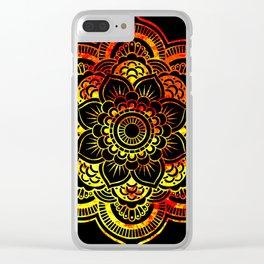 Fiery Sun Mandala Clear iPhone Case