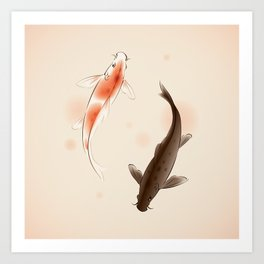 Yin Yang Koi fishes 001 Art Print