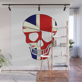 Union Jack Skull Silhouette With Eye Patch Wall Mural