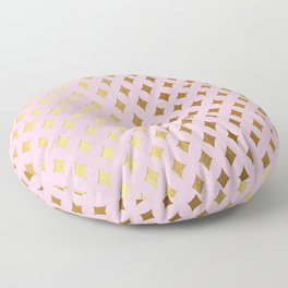 Queenlike - pink and gold elegant quatrefoil ornament pattern Floor Pillow