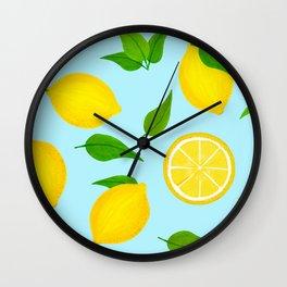 Summer Lemons Pattern - Yellow and Pastel Blue Palette Wall Clock
