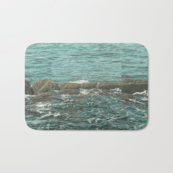 Waves on the Rocks Bath Mat
