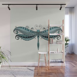 Dragonfly dreams turquoise Wall Mural