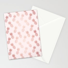 Rose Gold Pineapple Pattern Stationery Cards