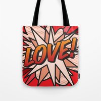 comic book Tote Bags featuring Comic Book LOVE! by Thisisnotme